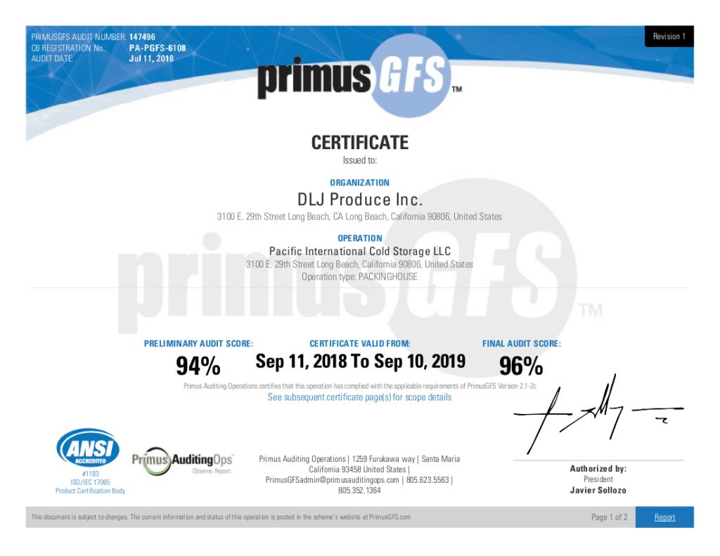 Food Safety Certification - DLJ Produce